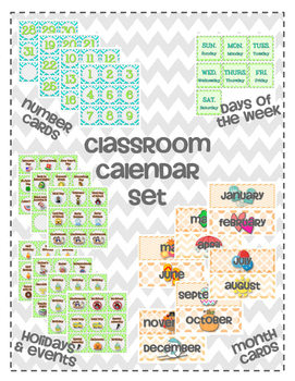Classroom Calendar Set for Pocket Chart