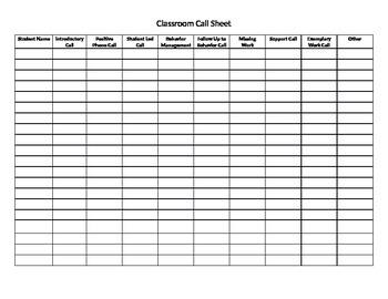 Classroom Call Sheet