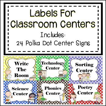 Classroom Center Signs - Polka Dots
