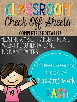 Classroom Check Off Sheet--FREEBIE