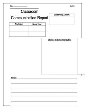 Classroom Communication Sheet--Editable