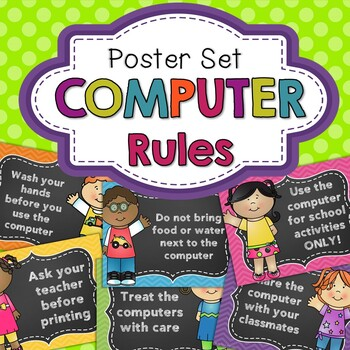 Classroom Computer Rules Posters (Happy Kids)