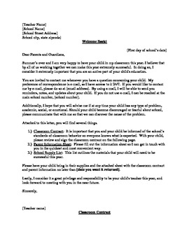 Classroom Contract, Parent Letter/Information Sheet, Schoo