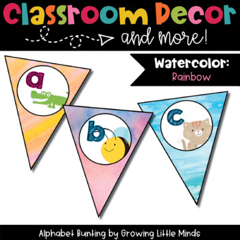 Classroom Decor: Alphabet Letter Bunting- Rainbow Watercolor