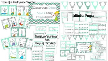 Classroom Decor {Aqua and Gray} Editable