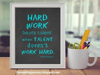 Motivational Quote Poster about Hard Work for Back to Scho