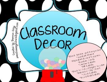 Classroom Decor {Black, White & Turquoise}