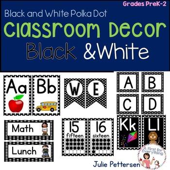 Classroom Decor Black and White Polka Dots