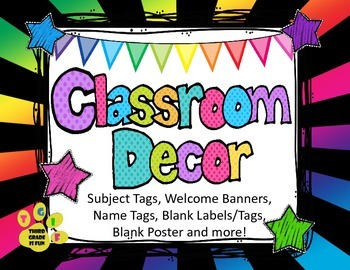 Back to School K- 8 Bright Colors Welcome Banners, Name &