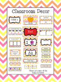 Classroom Decor Bundle - Orange, Pink, and Yellow Chevron