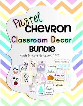 Classroom Decor Bundle - Pastel Chevron