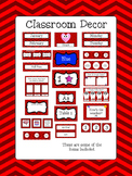 Classroom Decor Bundle - Red Chevron