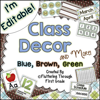 Classroom Decor Editable ~ Blue, Brown, and Green