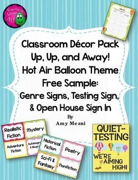 Classroom Decor Hot Air Balloon Theme FREE SAMPLE Genre &