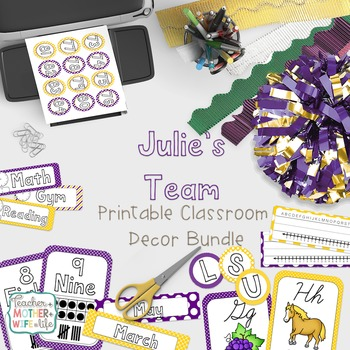 Classroom Decor - Julie's Team! (purple and gold)