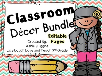 Classroom Decor Kit EDITABLE (Mint and Coral chevron version)