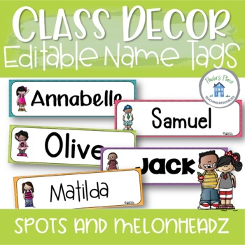 Classroom Decor -Name Tags or Desk Plates - Spots and Melonheadz