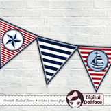 Classroom Decor / Nautical Pennant Banner / Flag Bunting