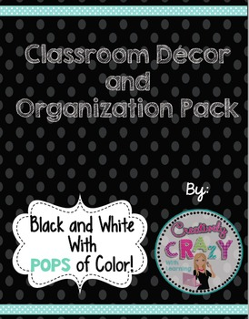 Classroom Decor Pack Black and White With Pops of Color