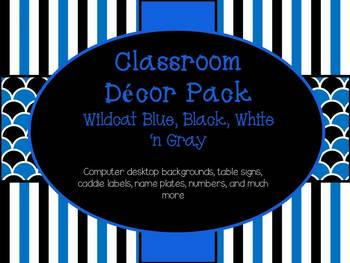 Classroom Decor Pack Blue Black Gray n White