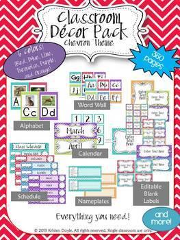 Classroom Decor Pack (Editable)-Chevron Theme