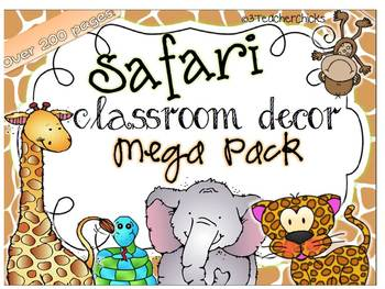 Classroom Decor Pack: Safari Monkey Theme