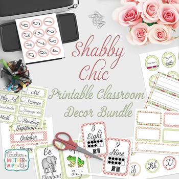 Classroom Decor - Pink and Green Shabby Chic