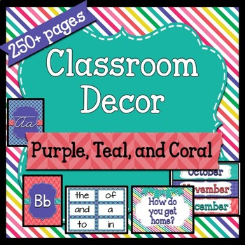 Classroom Decor ~ Purple Teal Coral