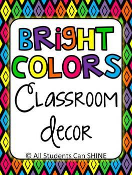 Classroom Decor Set - Bright Colors!