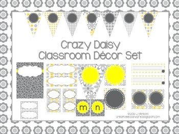 Classroom Decor Set and Labels ~ Gray and Yellow ~ Crazy D