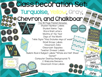 Classroom Decor Set: Turquoise,Yellow, Gray, Chevron, Chalkboard