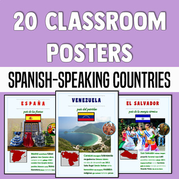 Spanish classroom décor - Posters of Spanish-speaking countries