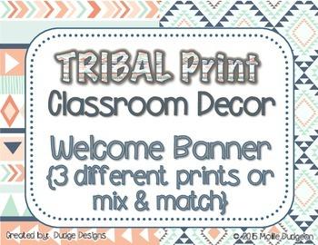 *Classroom Decor* - TRIBAL PRINT Welcome Banner