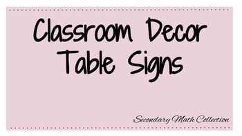 Classroom Decor: Table Signs Text
