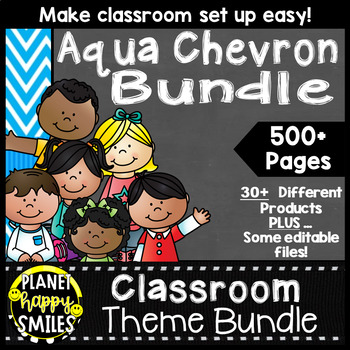 Classroom Decor Theme Bundle ~ Aqua and Chalkboard