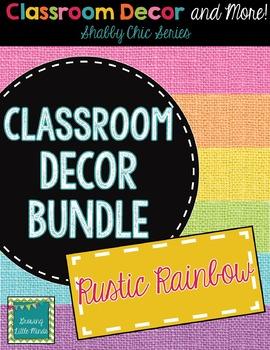 Classroom Decor and Labels Bundle- Shabby Chic Rustic Rain