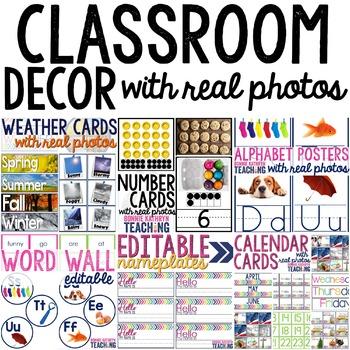 Classroom Decor with Real Photos