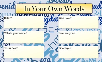 Classroom Decoration In Your Own Words Getting to Know You Poster