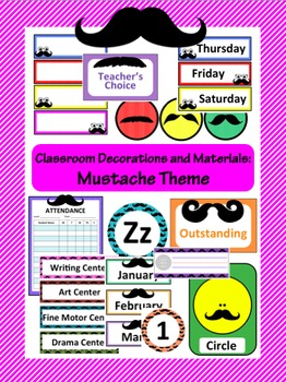 Classroom Decoration: Mustache Theme