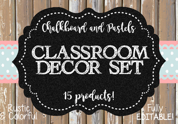Classroom Decoration Set - Chalkboard and Pastels Theme