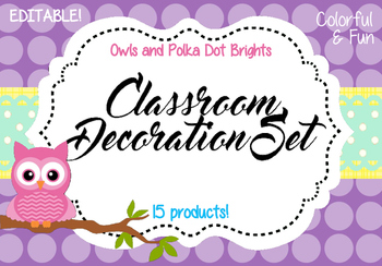 Classroom Decoration Set - Owls and Polka Dot Brights