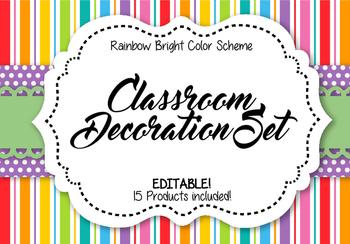 Classroom Decoration Set - Rainbow Bright Color Scheme