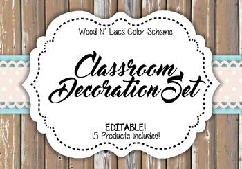 Classroom Decoration Set - Wood N' Lace