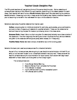 Classroom Discipline Plan Template- Just add your informat