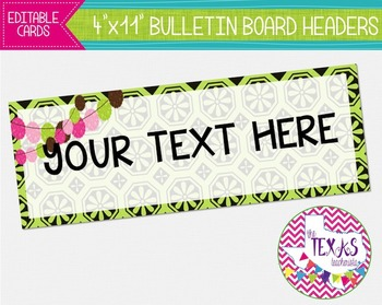 Bulletin Board Headers - Green, Chocolate Brown and Hot Pi