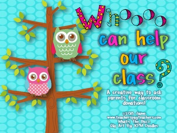 Classroom Donations Owl Theme {A Creative Way to Ask for C