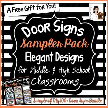 Classroom Door Signs Sample for Middle & High School