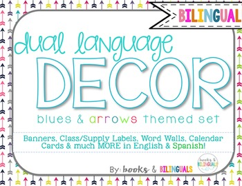Classroom {Dual} Decor Pack- Editable Blues&Arrows Theme Primary