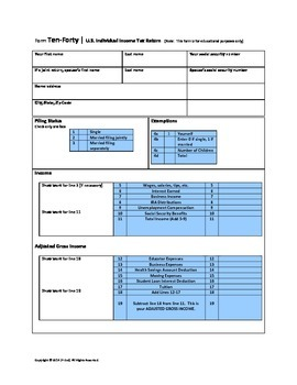 File Federal Taxes - 1040 Tax Worksheet & Profiles (Math,S