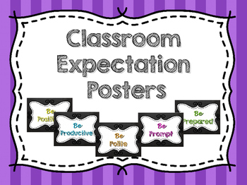 Classroom Expectations Chalkboard Posters